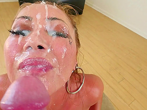 Kianna shows off her monster tits while getting her mouth fucked