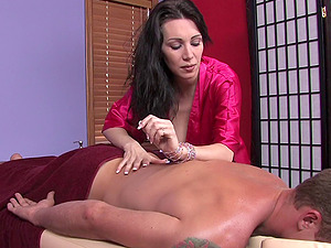 His relieving rubdown concludes with her providing a superb handjob