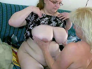 Fat girly-girl grannies slurping and smooching each other's big tits