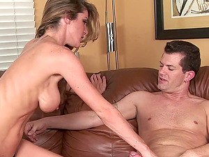 Fit mummy chick Kayla Paige sits upon a man rod and rails