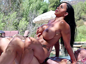 Immensely buxom dark haired Cougar gets drilled outdoors