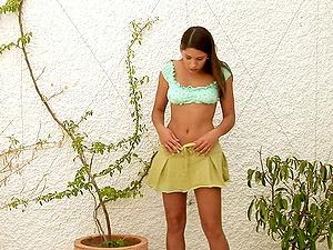 Outside of her mansion bathing suit stunner Zafira strips naked