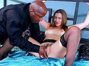 Cuffed Dani Daniels fucked by a massive black jizz-shotgun