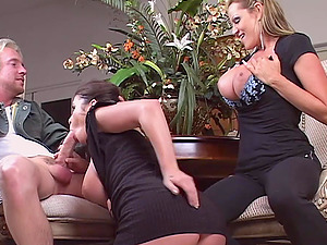 Horniest blonde ever luvs using her tits to give sexy titjobs