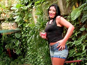 Outdoor interracial fucky-fucky among Brazilian bi-atch on high high-heeled shoes and a Latina
