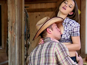 Beauty gargles cowboy dick and takes him in her soaking raw labia