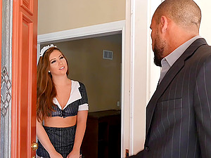Maddy O'Reilly a adorable doll in fishnet closes the deal with her manager with face fucking