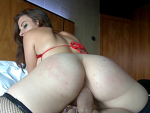 Her trampy underwear excites him for a big manstick Point of view fuck
