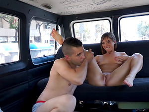 Facial cumshot and a hot fuck for the cutie fucking in a van