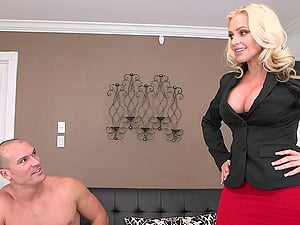Hot looking bleach blonde mummy stunner with sexy faux breasts