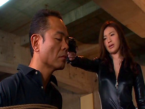 Shiny catsuit honey submits to his lusty desires and gets fucked