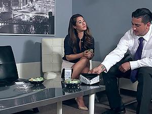 Miniskirt and half-top beauty Dana DeArmond fucked on a conference table