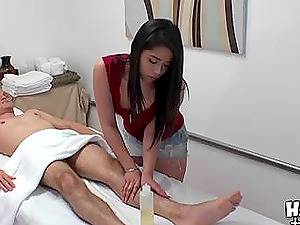 It's the ultimate glad ending when she massages him and sits on his hard-on