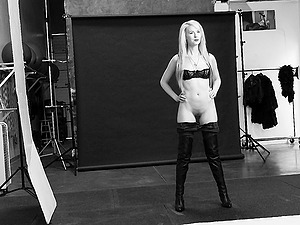 Jeans and boots look hot on this skinny blonde honey