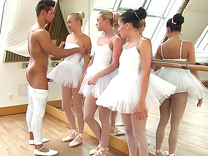 Ballerinas have an orgy with a lucky big dick dude