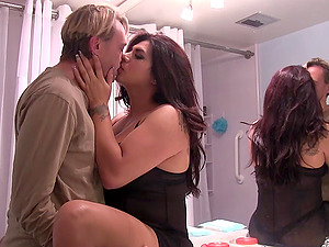 Mouth fucked tranny stunner rails him with her asshole