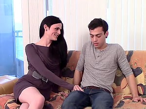 Anastasia's dick idles while the sexy shemale gets her asshole drilled doggystyle