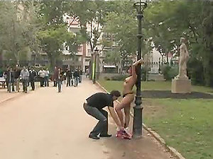 Cheating Wifey Gets Tied Naked to a Pole