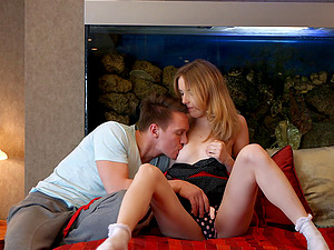 Teenage hooks up with her man for a hard-core scene
