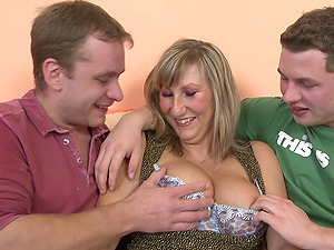 She's totally ready to let these guys give her a dual shagging