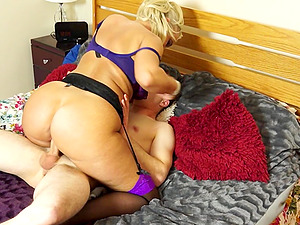 Blonde with giant hooters determines to bounce on the dick of her pal