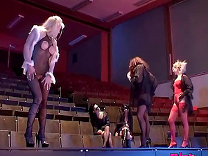 Group of kinky chicks going full-lesbian on the stage