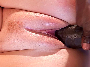 Monster black shaft penetrates Abbey's orgasmic pink slit