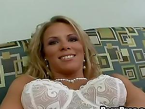 Clean-shaved vagina blonde masturbating superbly in closeup seen