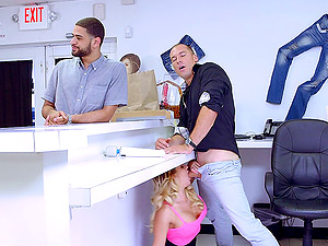 Bald boy gives the sexy Cali Carter fairly a good labia drilling
