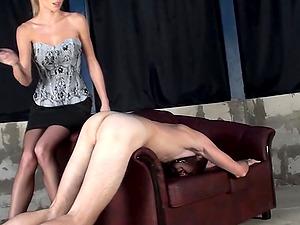 Bum manhandling mistress looks flawless in a corset and mini-skirt