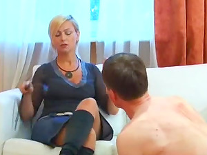 High stilettos dick into his chest as the mistress stomps her man