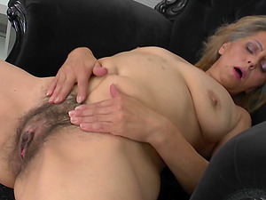 Milky undies come off and reveal her hairy cougar cunt