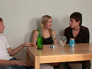 Mischievous Marina gets tipsy and fucked by two guys