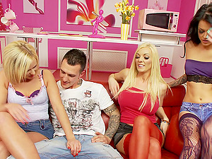 Three mesmeric ladies going crazy over their tattooed fellow's man sausage