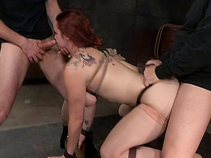 Hard gangbanging joy of a sexy dame in restrain bondage