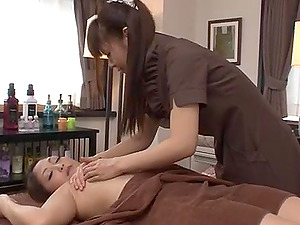 Superb rubdown session with a lesbo stunner for Maika