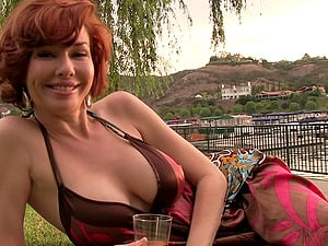 Braless big melons mummy honey shows off her cleavage at the lake