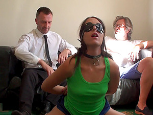 Collared cutie takes a belting on her bootie and a hard face fucking