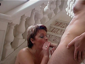 Arousing cougar getting shagged by her fresh accomplice on the stairs