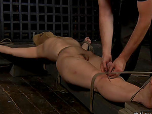 Nerdy honey receives the rough stimulations while she's incapable to budge