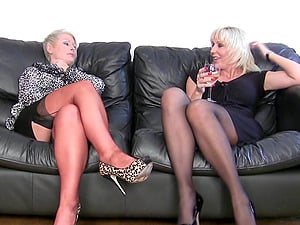 Uber-cute mature g/g duo in nylon stockings smashing each other with fucktoys