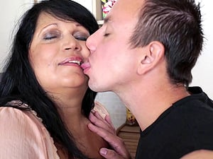 Obese cougar gives a rimjob to her man and permits him to bang her