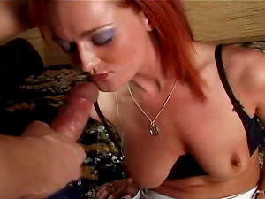 Ginger-haired cowgirl yells when her bald vagina is drilled gonzo