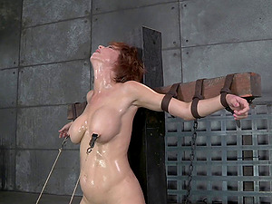 Sandy-haired big tits victim getting face fucking in Sadism & masochism torment
