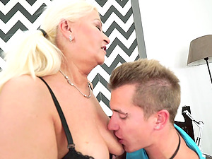 Stiff school dick is just the thing that this blonde grandma needed