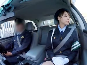 Asian policewoman providing a footjob that's indeed hard to leave behind