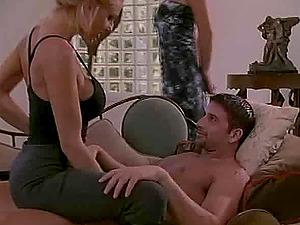 Faux tits Devon eating nutsack in ffm threesome porno shoot