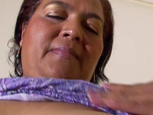 Fat mature woman gets naked before touching her moist twar