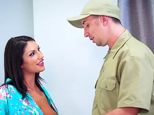 Mailman gets lucky with insatiable housewife August Ames