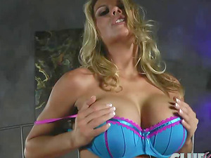 Charisma Cappelli playing with her big blue hook-up plaything